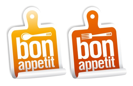 Bon appetit stickers set. Vector