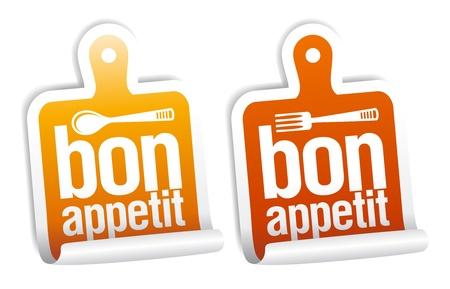 bon: Bon appetit stickers set. Illustration