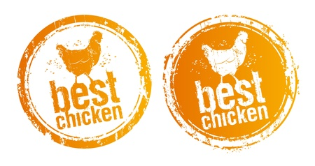 fried: Best chicken vector stamps.