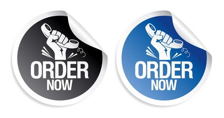purchase order: Order now stickers set.