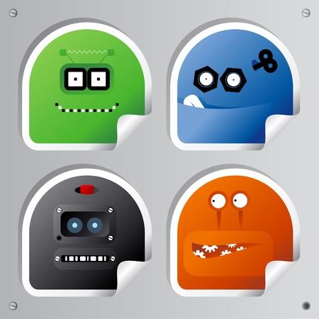 ojos caricatura: Conjunto de pegatinas de Robots gracioso.