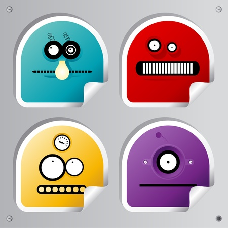 Funny Robots stickers set. Vector