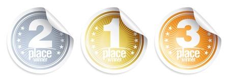 Golden, Silver, Bronze medals, winner stickers. Stock Vector - 9646759
