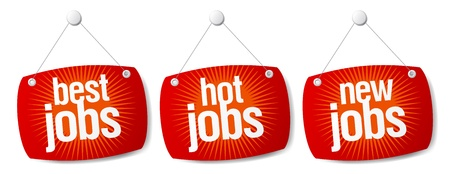 Best hot jobs signs set. Vector