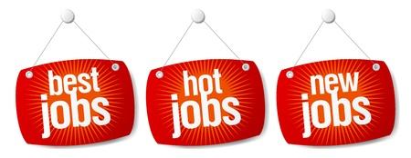 Beste hot Jobs-Zeichen festlegen. Vektorgrafik