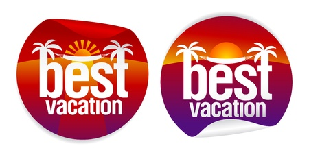 hot tour: Best vacation labels with tropical sunset. Illustration