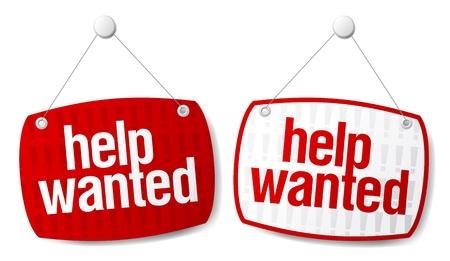 help wanted sign: Conjunto de signos roja busca ayuda. Vectores