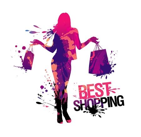 Silueta de mujer de compras