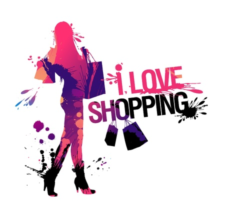 Shopping woman silhouette. I love shopping Stock Vector - 9715453