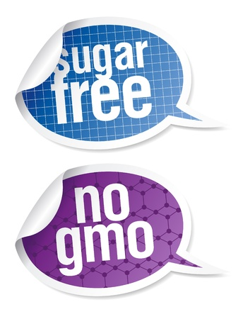 diabetico: Sin az�car y OMG libre pegatinas de alimentos en forma de burbujas de discurso.  Vectores