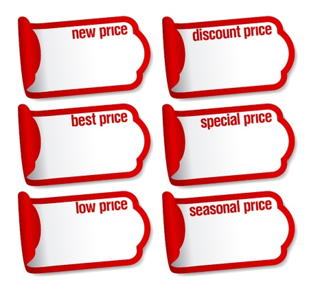 Best price stickers with empty place for prices. Vector