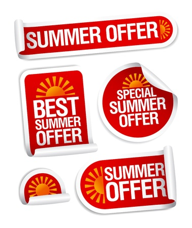 discount banner: Best summer offers stickers set.