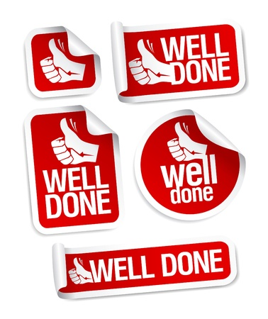 thumbs up symbol: Well done stickers with hand thumbs up symbol.