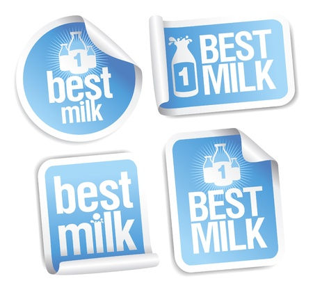 Best milk stickers. Vector