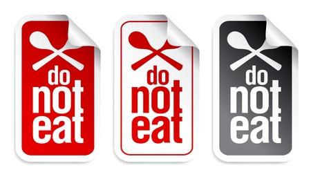 No comer y beber signo. Ilustración de vector