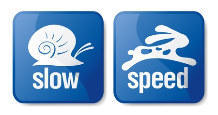 internet speed: Slow and speed download buttons. Illustration