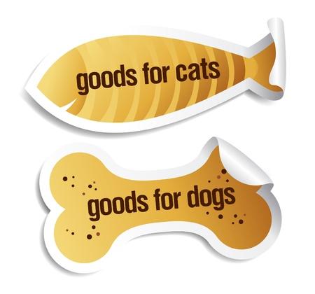 fish store: Productos para perros y gatos pegatinas establecer.