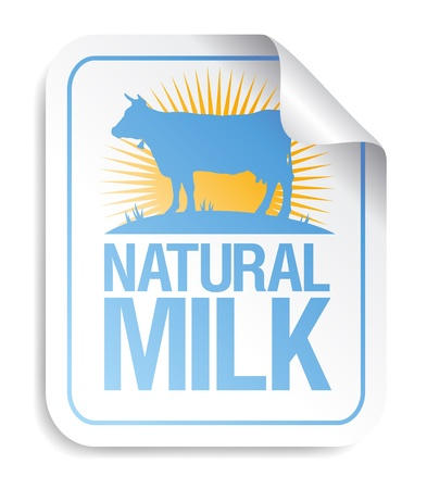 Natural milk sticker with cow. Illustration