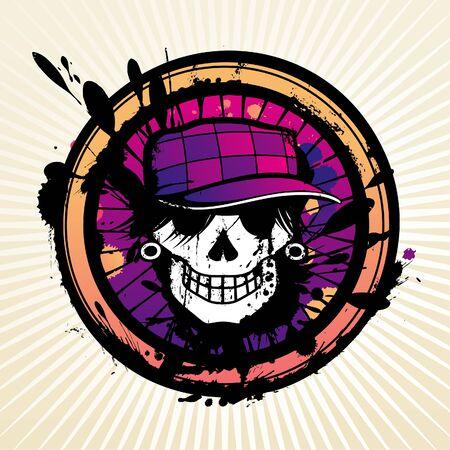 pink cap: Skull grunge design for t-shirt