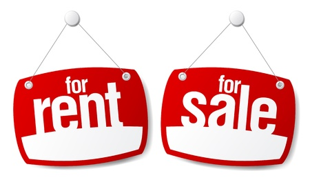 Property Sale and Rent Signs Vector