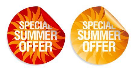 ropa de verano: Pegatinas especiales de verano ofrecen. Vectores
