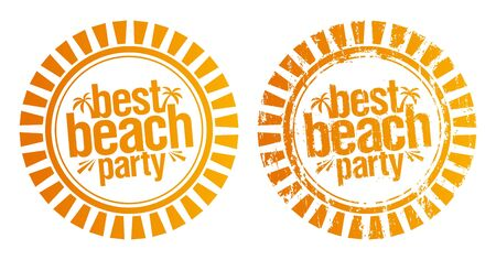 sea mark: Best beach party rubber stamps. Grunge and simple version. Illustration