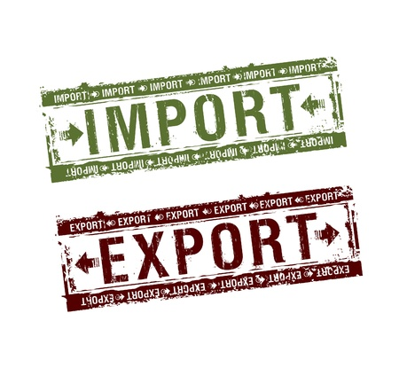 import and export business: Import and export rubber stamps set Illustration