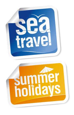 Hot summer travel stickers set Vector