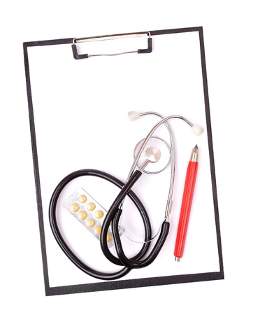 check up: Medical clipboard and stethoscope isolated on white