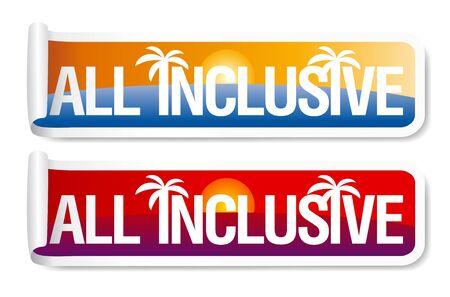 All inclusive labels set. Stock Vector - 9932573