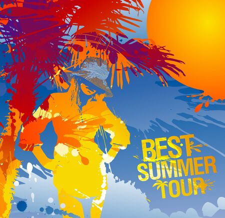 ocean view: Relaxing woman silhouette. Best summer tour, vector illustration with splashes.