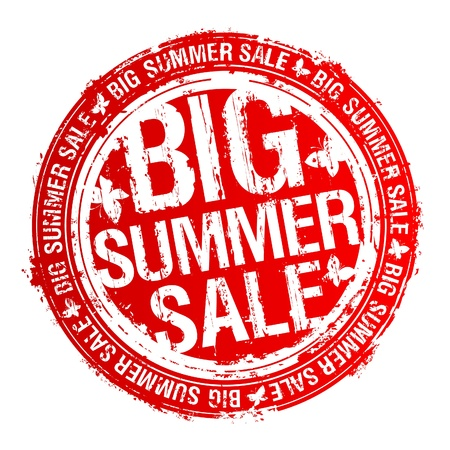 big business: Big summer sale rubber stamp.