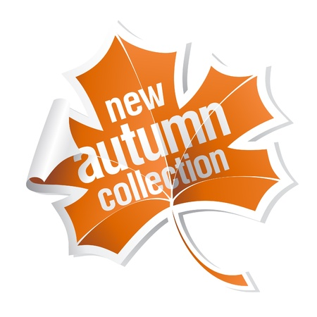 maple leaf icon: new autumn collection sticker Illustration