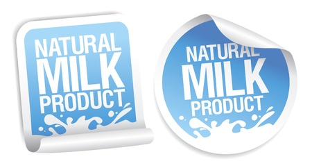 Etiquetas de productos naturales de la leche. Ilustración de vector