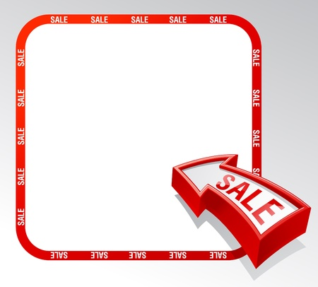 Bannière de flèche de vente avec place pour le texte. Vecteurs