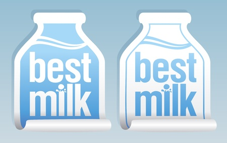 Best milk stickers in form of jug. Illustration