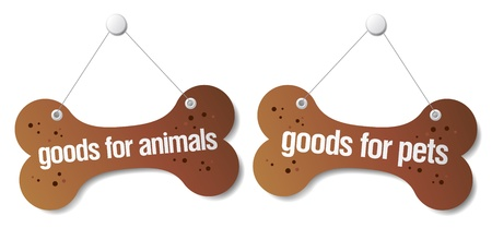 outdoor goods: Goods for pets signs set Illustration