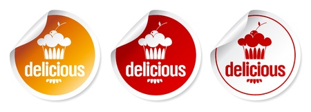 Delicious Sweets stickers set.  Vector