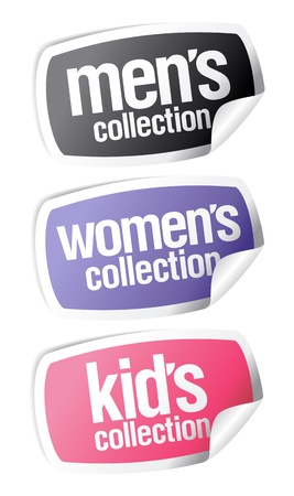 specify: Men`s, women`s and kid`s collection stickers set