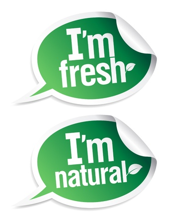 Set of natural product stickers in form of speech bubbles. Stock Vector - 10057812