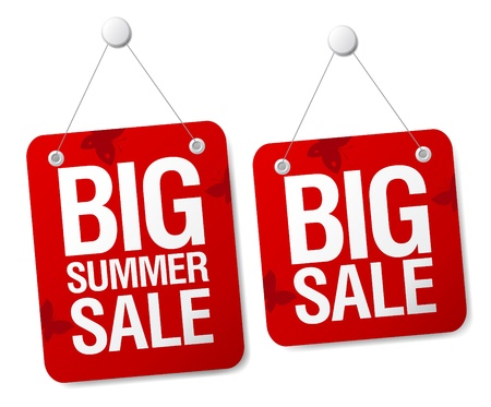cheap prices: Big summer sale signs set.