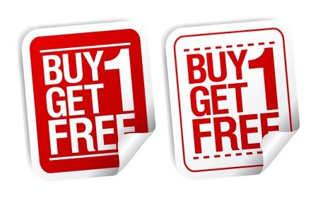 Kup jeden dostać jeden wolny, promocyjnych zestaw naklejek sprzedaży. Ilustracja