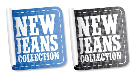 clothing label: New Jeans collection stickers set Illustration