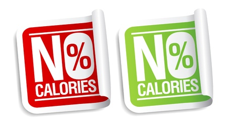 verlies: Geen calorieën, dieetvoeding stickers set. Stock Illustratie
