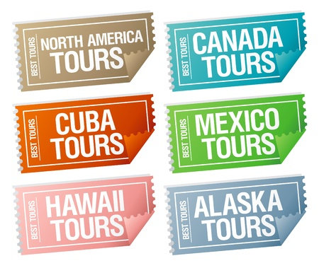 Best tours stickers in form of  tickets. Stock Vector - 10057842