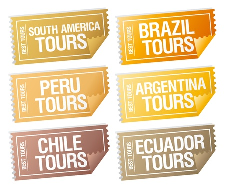 best travel destinations: Best tours stickers in form of  tickets.