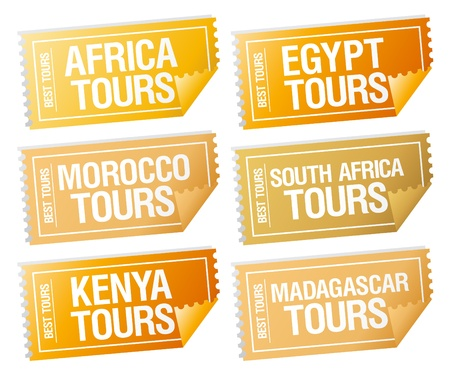 travel destination: Best tours stickers in form of  tickets.