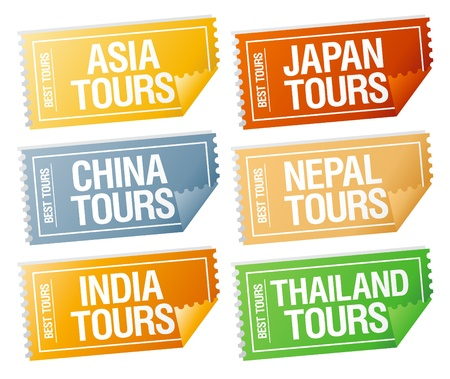 Best tours stickers in form of  tickets. Stock Vector - 10201602