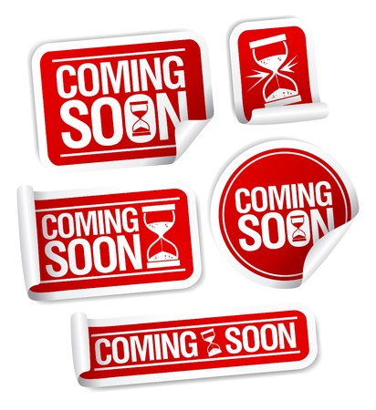 Coming soon stickers mega pack. Vector