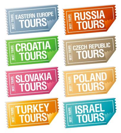 agencia de viajes: Los mejores viajes de pegatinas en forma de billetes. Vectores